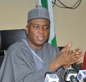 PIC.32. CHAIRMAN, SENATE COMMITTEE ON ENVIRONMENT, SEN. BUKOLA SARAKI SPEAKING DURING  THE   SENATE PRESS CORPS FACTS FINDING IN ABUJA ON WEDNESDAY (13/2/13)
