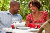 Miami, Florida, USA --- African American couple eating in restaurant --- Image by © DreamPictures/Blend Images/Corbis