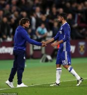File photo dated 26-10-2016 of Chelsea manager Antonio Conte shakes hands with Diego Costa.